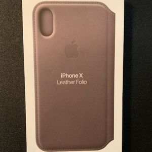 Apple iPhone X Leather Folio Case Taupe NIB